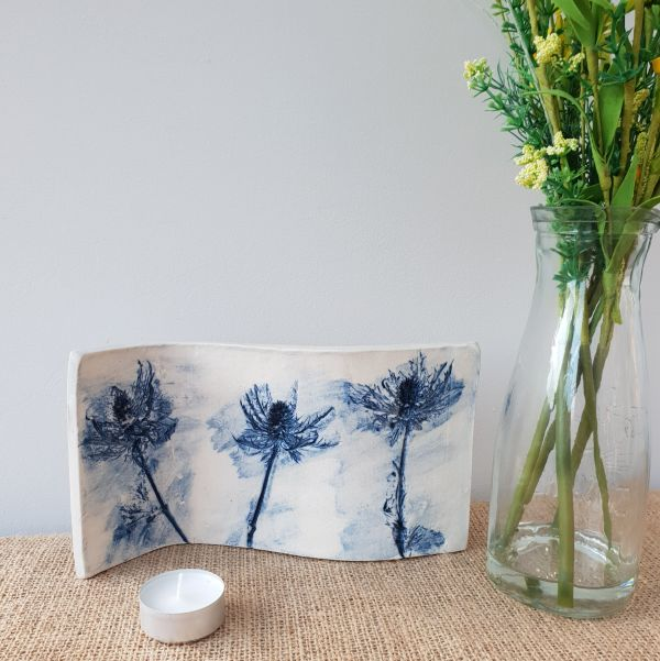 blue thistles ceramic curved art