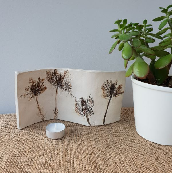 rustic thistles curved ceramic art