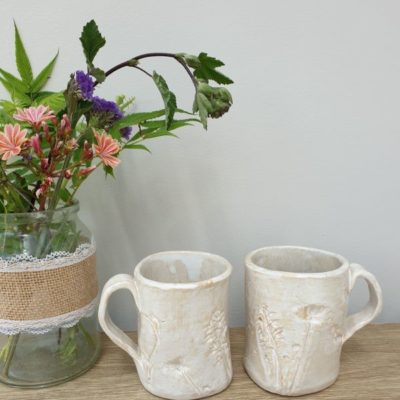 white floral ceramic mugs