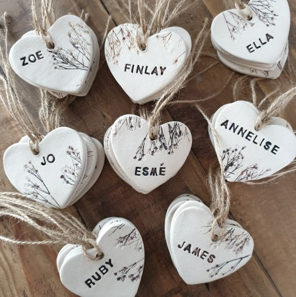 ceramic wedding favours with twine