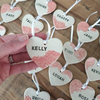 pink lace personalised ceramic wedding favour hearts