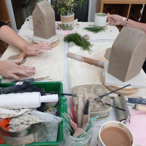 pottery class tea light houses