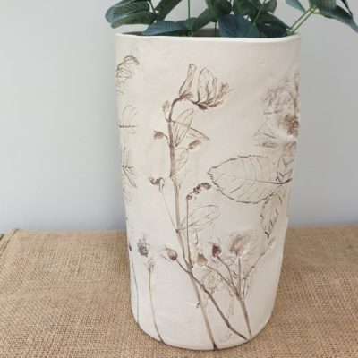 large natural vase impressed flowers