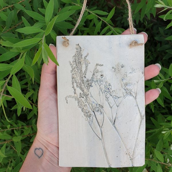 grey floral ceramic plaque