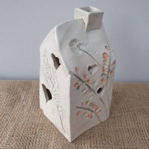 handmade ceramic tea light house