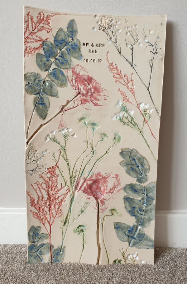 ceramic wedding flower wall hanging tile