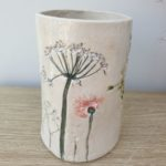handmade ceramic vase pressed with wedding flowers