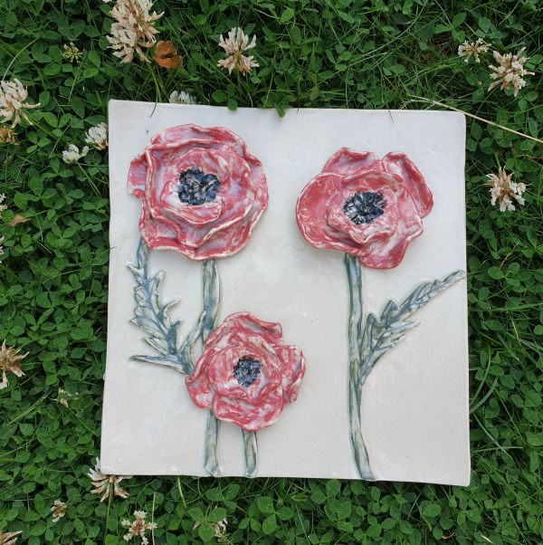 ceramic poppy plaque tile