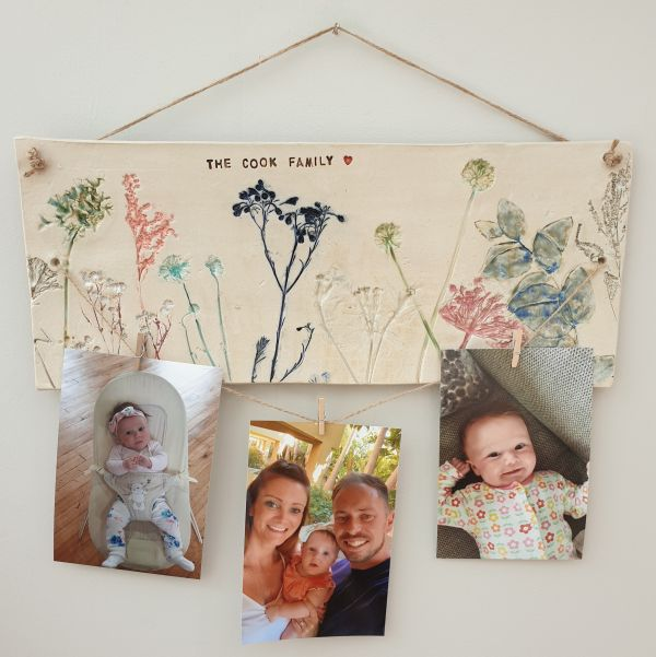 personalised floral wall hanging tile