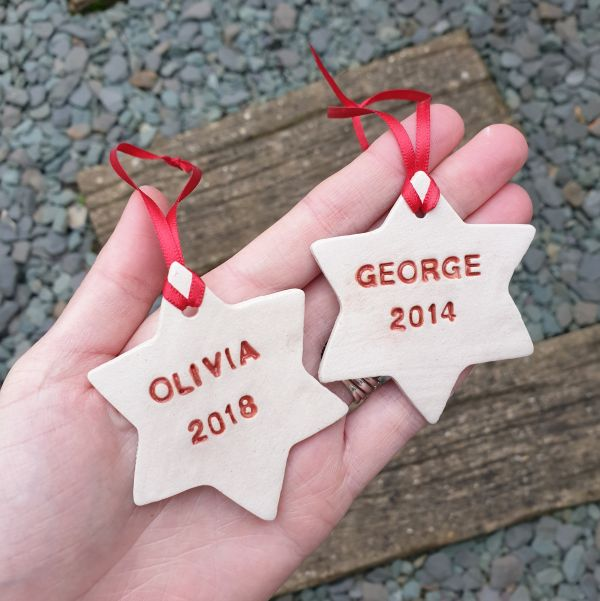personalised ceramic christmas stars