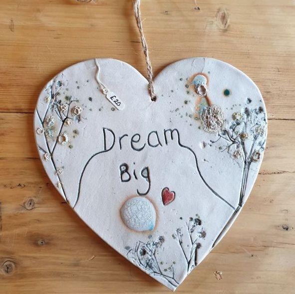 dream big heart plaque