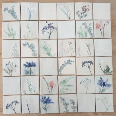 botanical ceramic tiles
