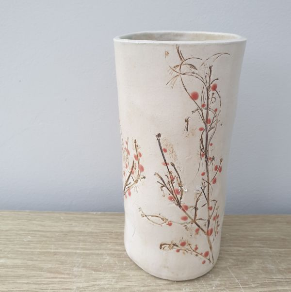 red berries vase