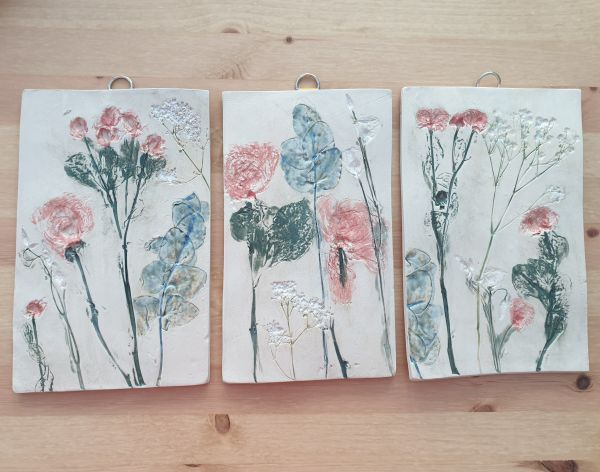 set of three flower wall tiles triptych