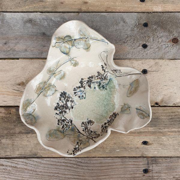 botanical handmade dish