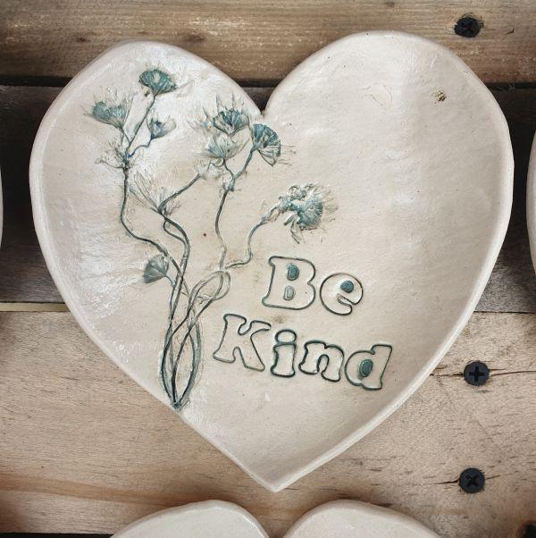 be kind ceramic heart dish