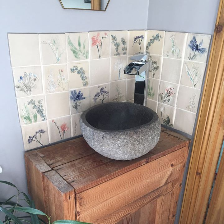 bathroom sink splashback botanical ceramic tiles