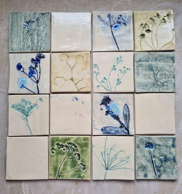 botanical ceramic tiles